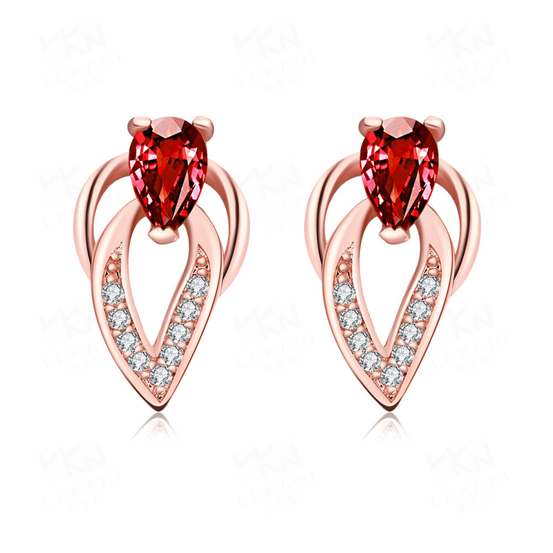 Rose Gold Plated Floral Leaf Red Cubic Zirconia Stud Earrings for Women