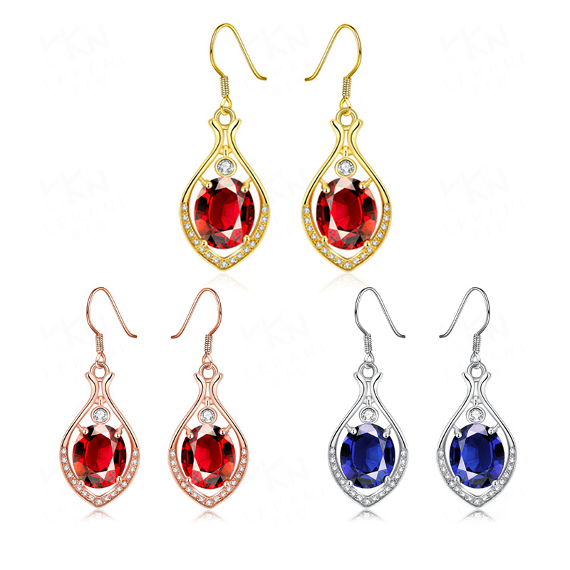 Gold Plated Water Drop Shaped Red/Blue Crystal Earrings for Women