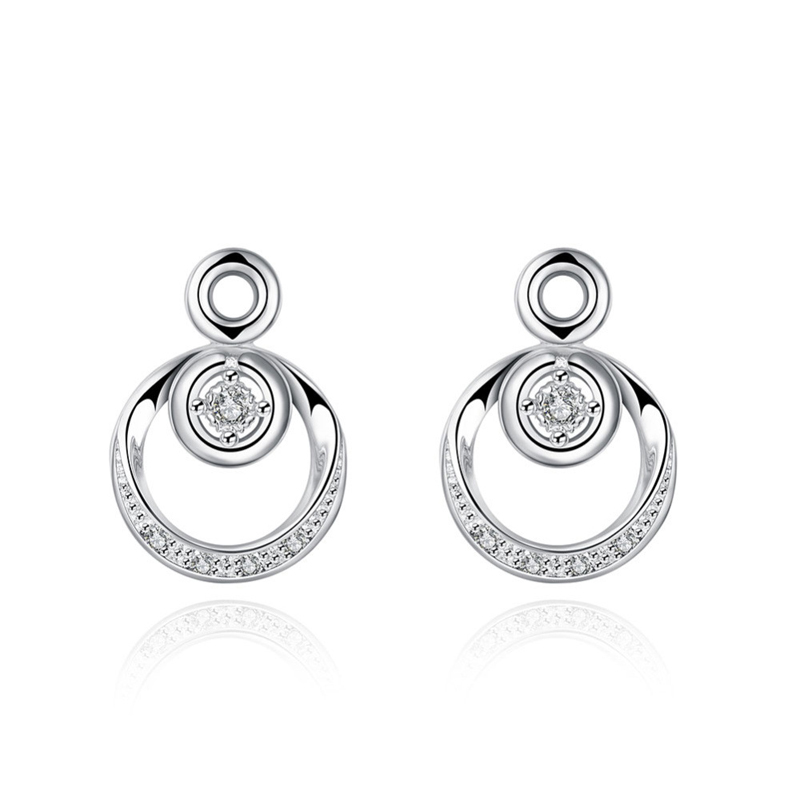 Luxury Round Silver Plated Stud Earrings for Women