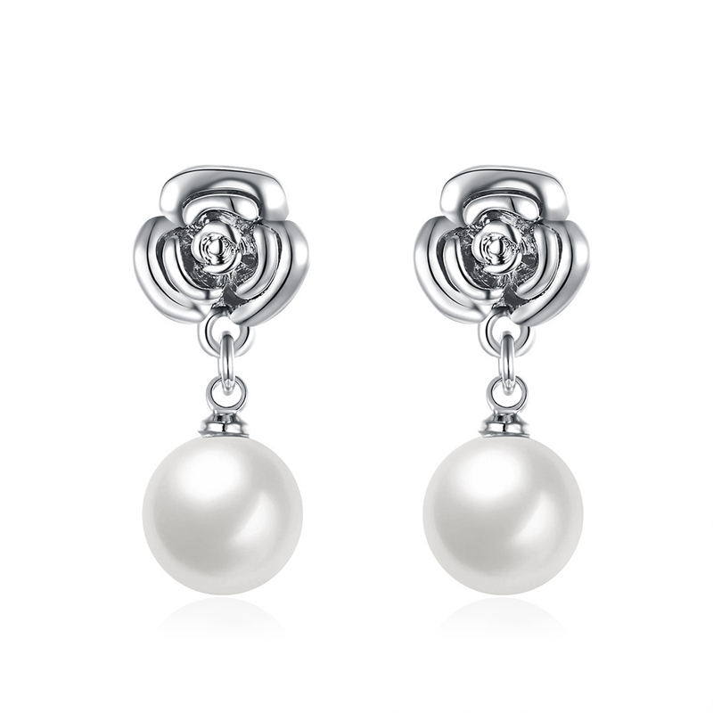 Silver Plated Flower Earrings with Simulated Pearl for Women
