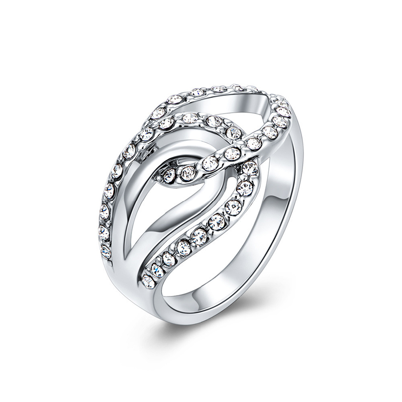 Antiallergic Fashion Jewelry Platinum Plated Ring For Women