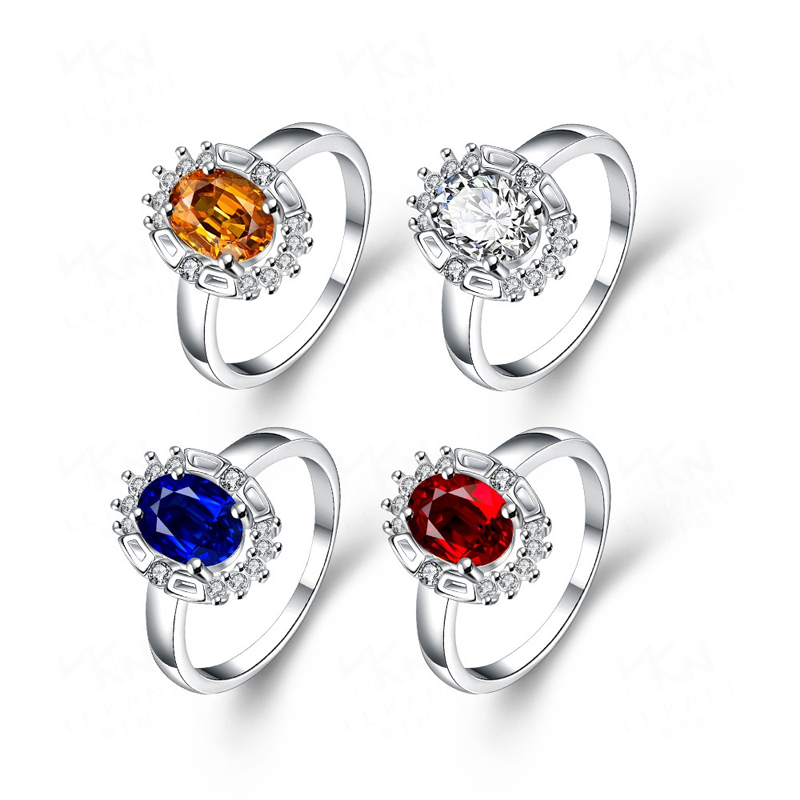 Round Silver Plated with Crystal Zirconia Women's Rings
