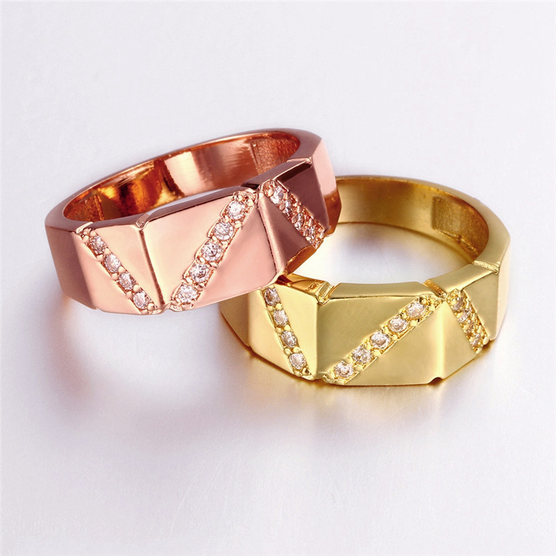 Yellow Gold/Rose Gold Plated Fashion Channel Setting Rings For Women