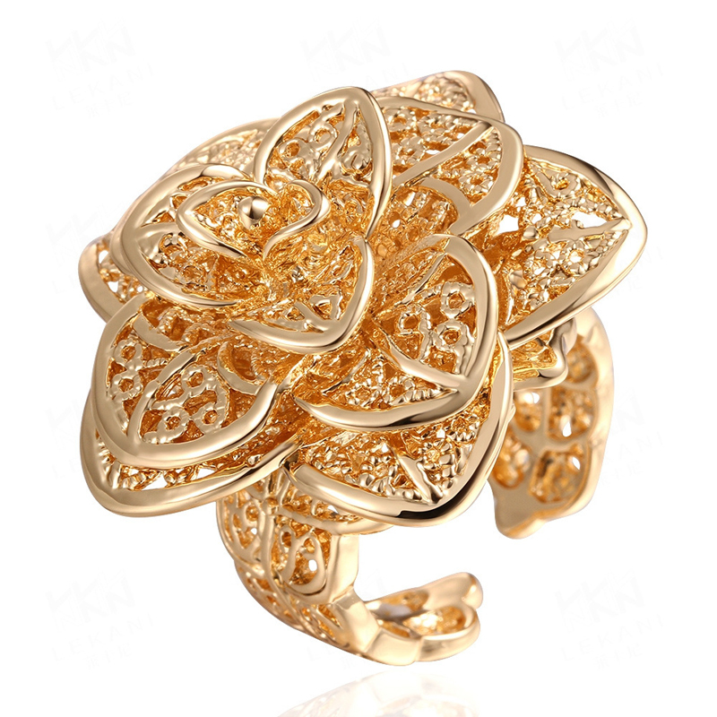 Gold Plated Luxury Hollow Out Big Flower Rings for Women