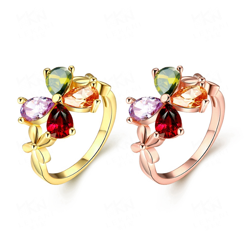 Fashion Gold Plated Colorful Clover Zircon Multi Color Women Ring
