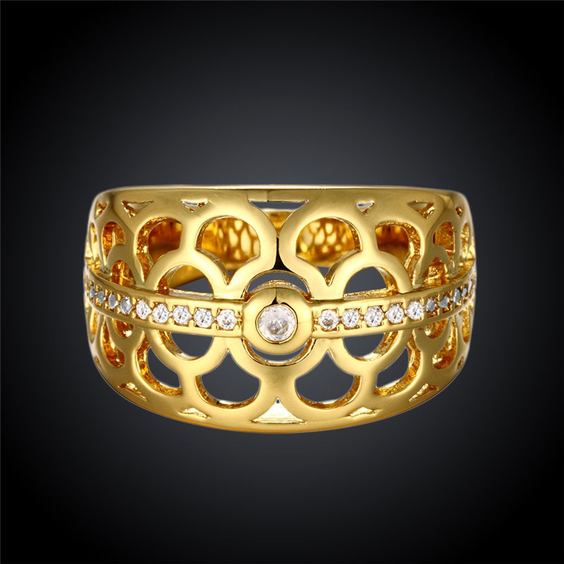 Round Yellow Gold/Rose Gold Plated Hollowed Rings for Women