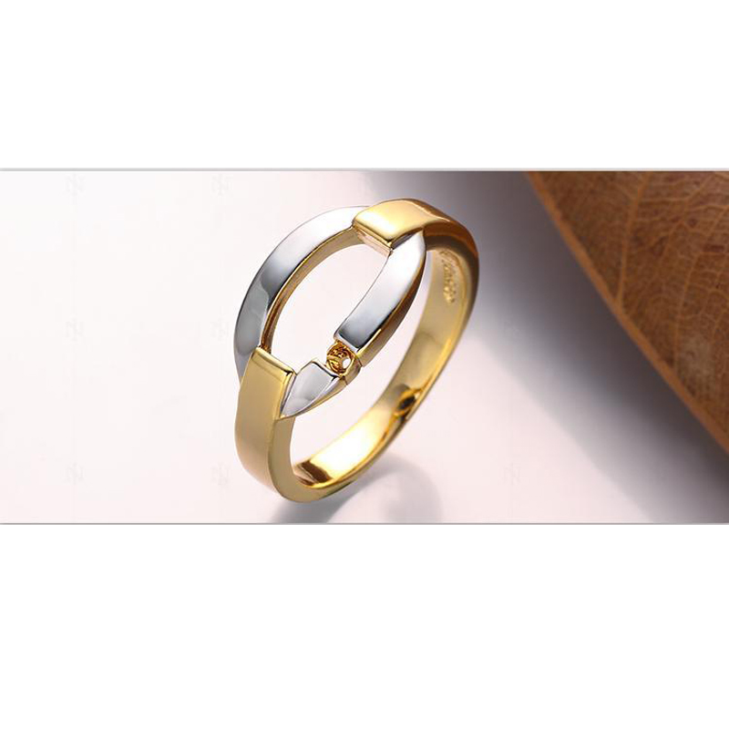 Round Yellow Gold Plated Hollowed Rings for Women