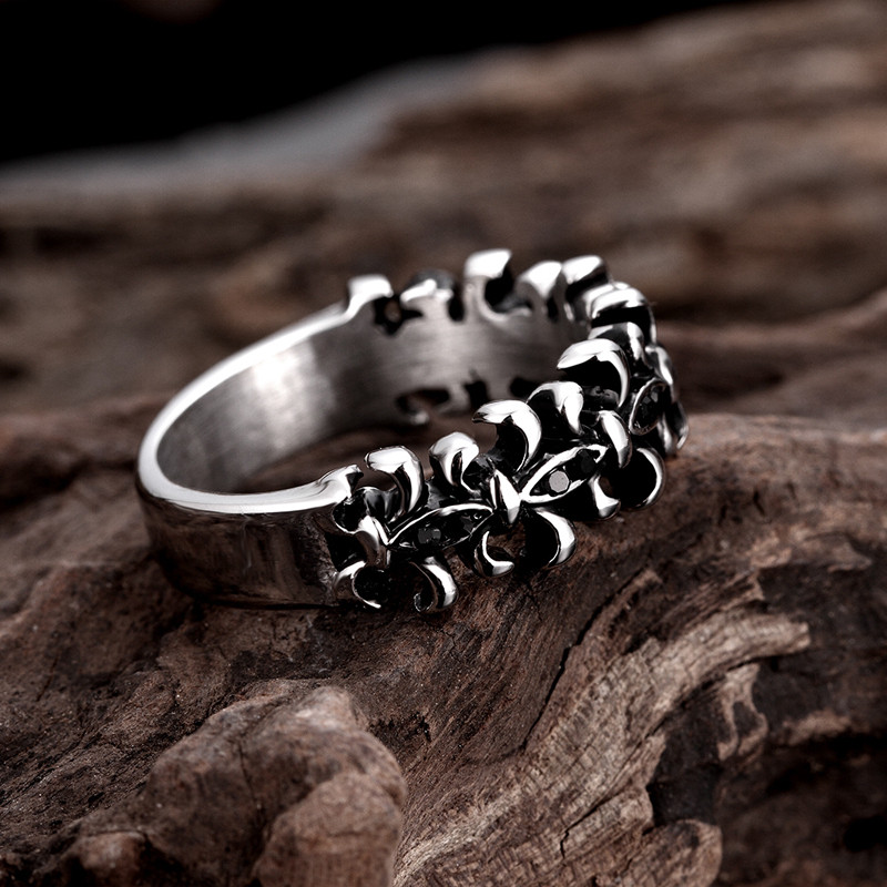 Stainless Steel Hollow Carving Flower Ring for Men