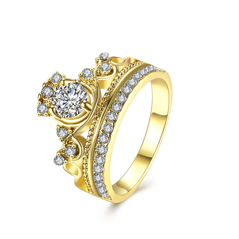 Gold Plated with Cubic Zirconia Rings Fashion Jewelry for Women