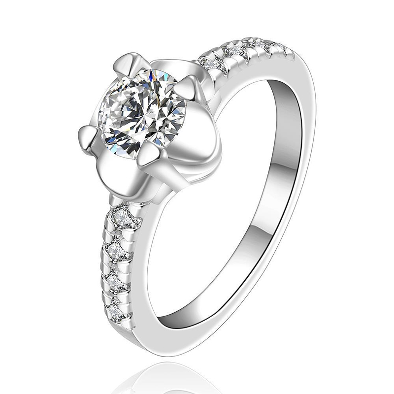 Round Silver-Plated Inlaid Cubic Zirconia White Crystal Women Ring
