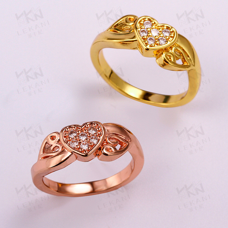 Heart Shaped Yellow Gold/Rose Gold Plated Rings for Women