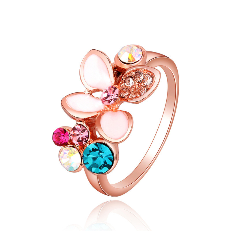 Flower Shape Rose Gold Plated with Colorful Crystal Ring for Women