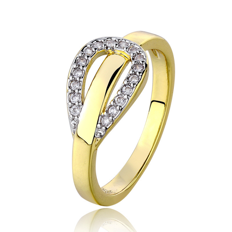 Gold Plated & Zirconia Round Ring for Women