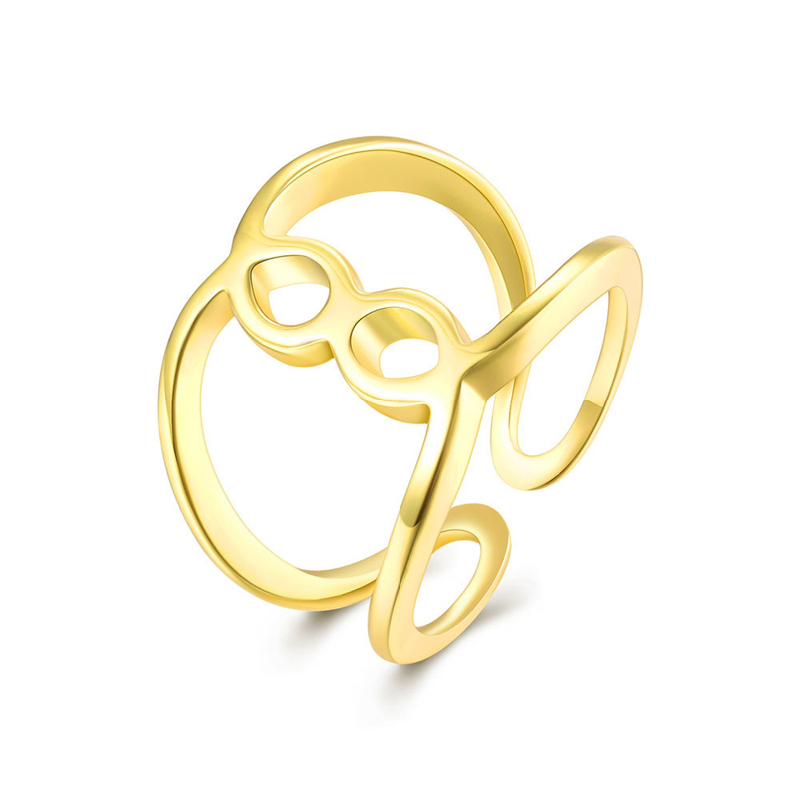 Gold Plated Adjustable Hollow out Ring for Women