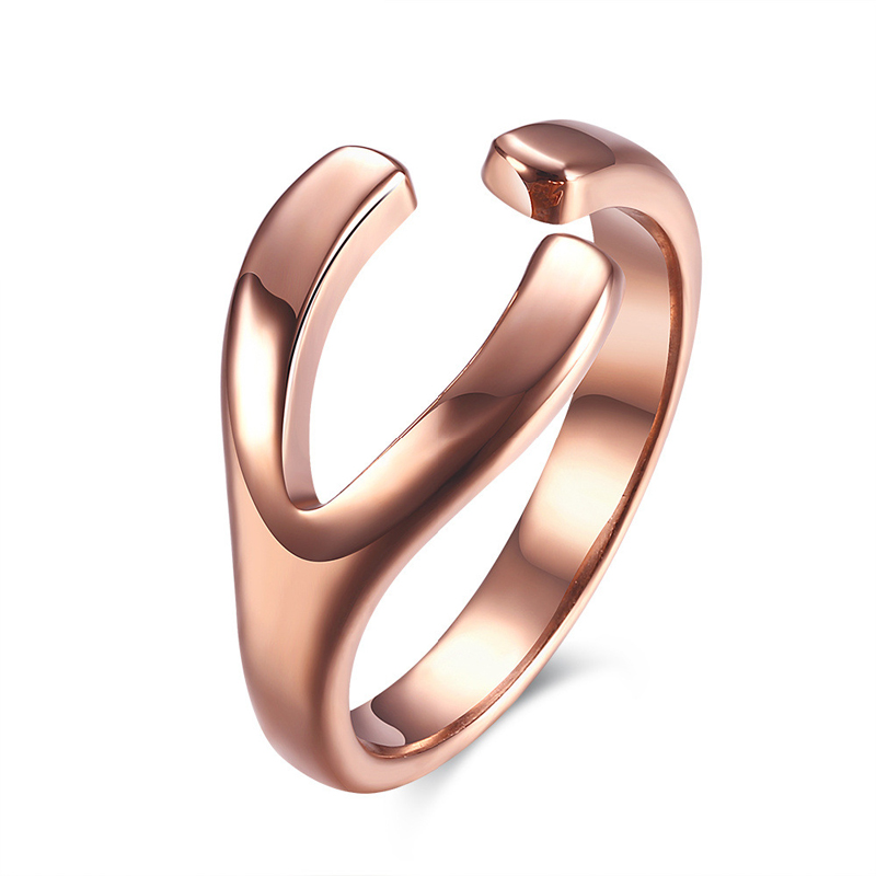 Women Rose Gold Plated Branch Shape Opening Ring