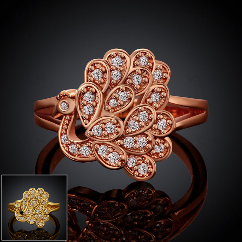 Yellow Gold/Rose Gold Plated Peacock Shaped Round Rings For Women
