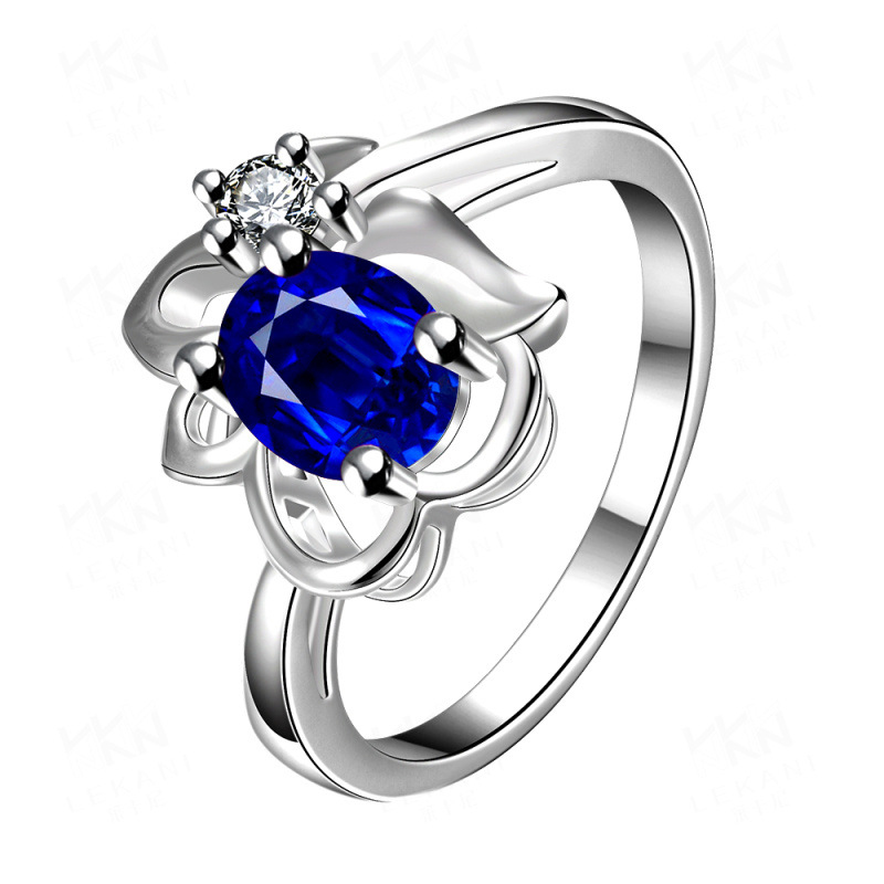 Silver Plated with 4 Colors Stone Rings Wedding Jewelry for Women