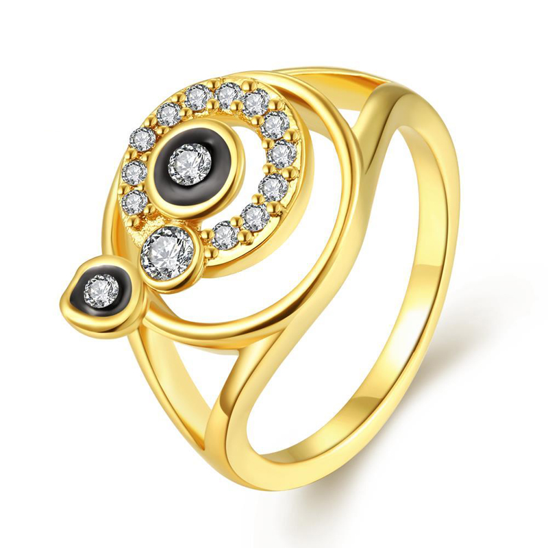 Multi Rounds Inlaid Cubic Zirconia Gold Plated Ring for Women