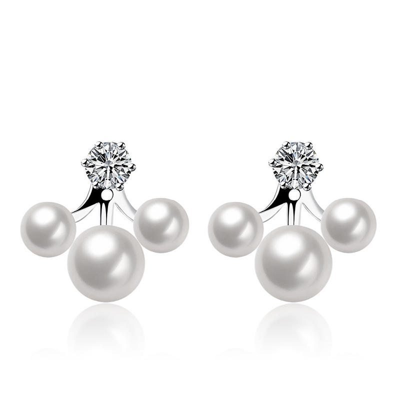 Three Pearls Platinum Plated Earrings For Women