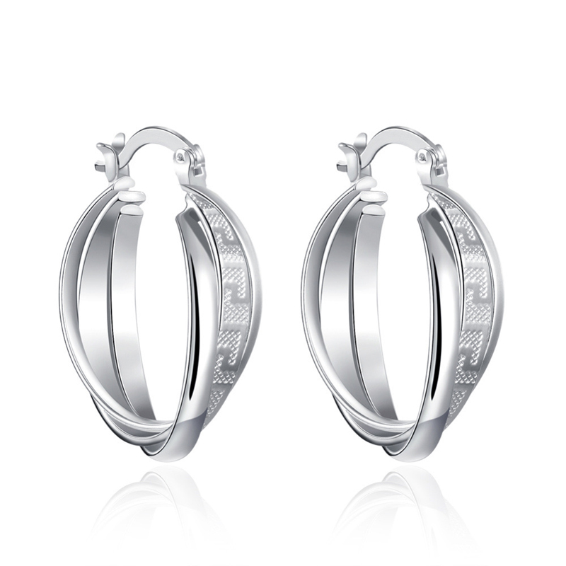High Quality Silver Plated Double Roll Clip Earrings Fashion Jewelry for Women