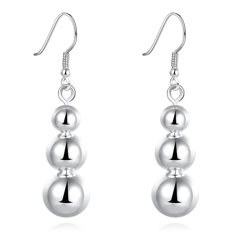 Trendy Round Solid 925 Sterling Silver Earrings for Women