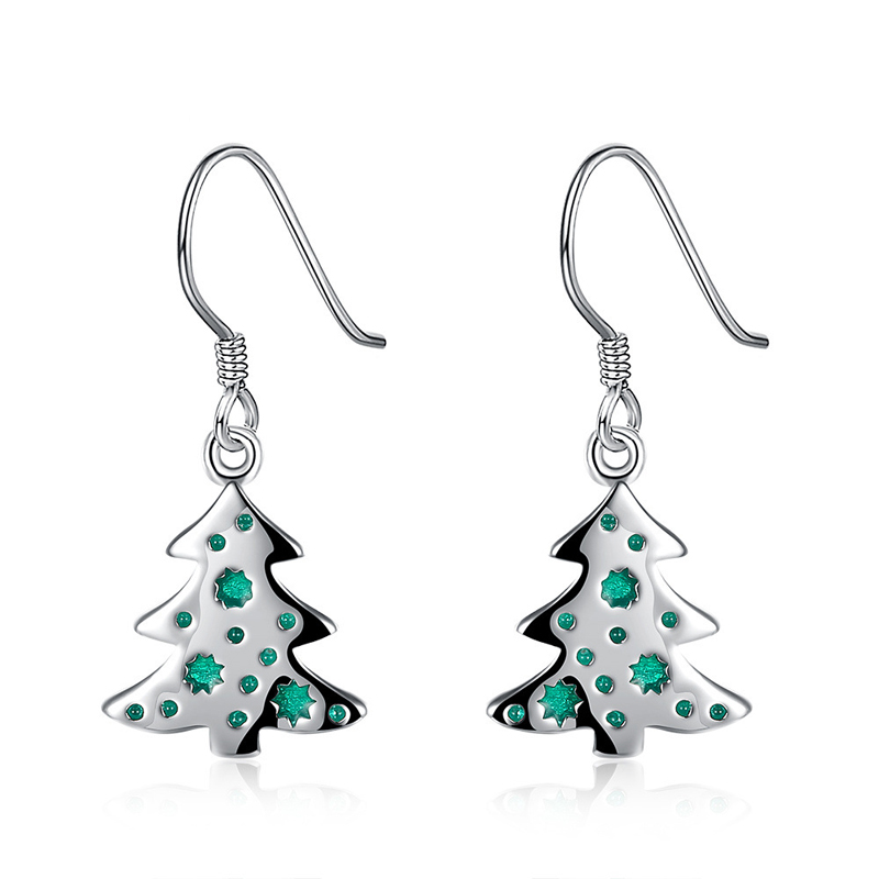 Green Christmas Tree Shaped Silver Plated Drop Earring for Girls