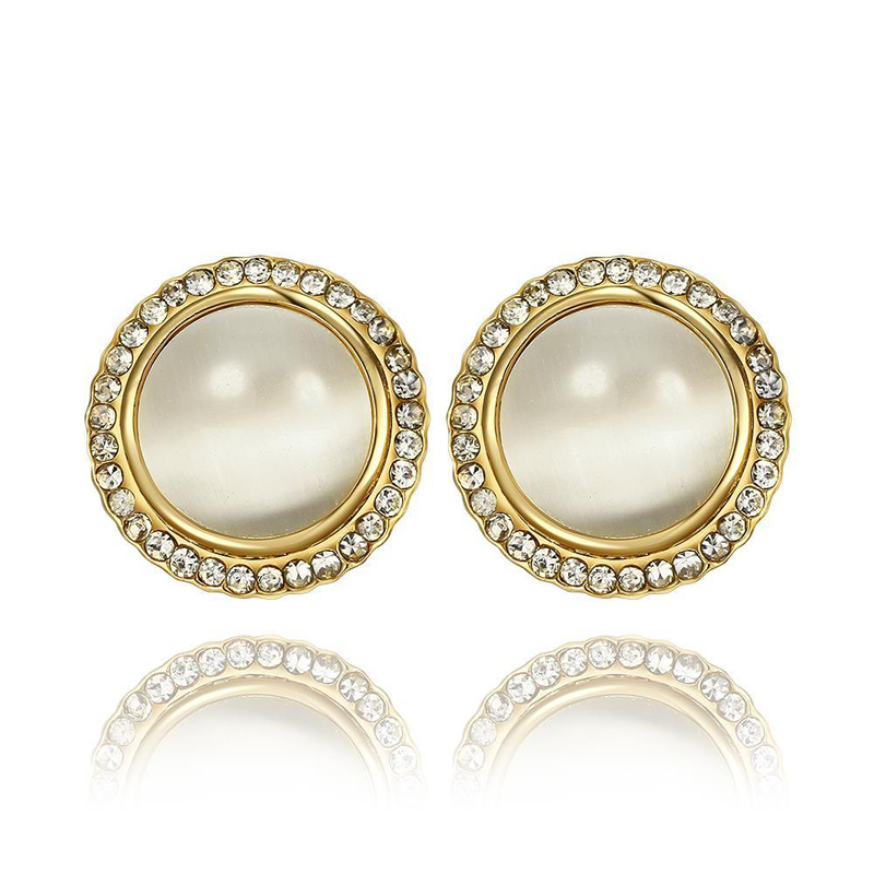 Trendy Round Gold Plated Earrings for Women