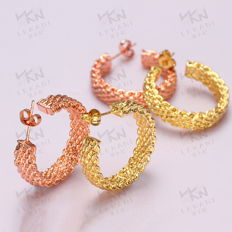 Gold Plated Stud Earrings Classic Jewelry for Women