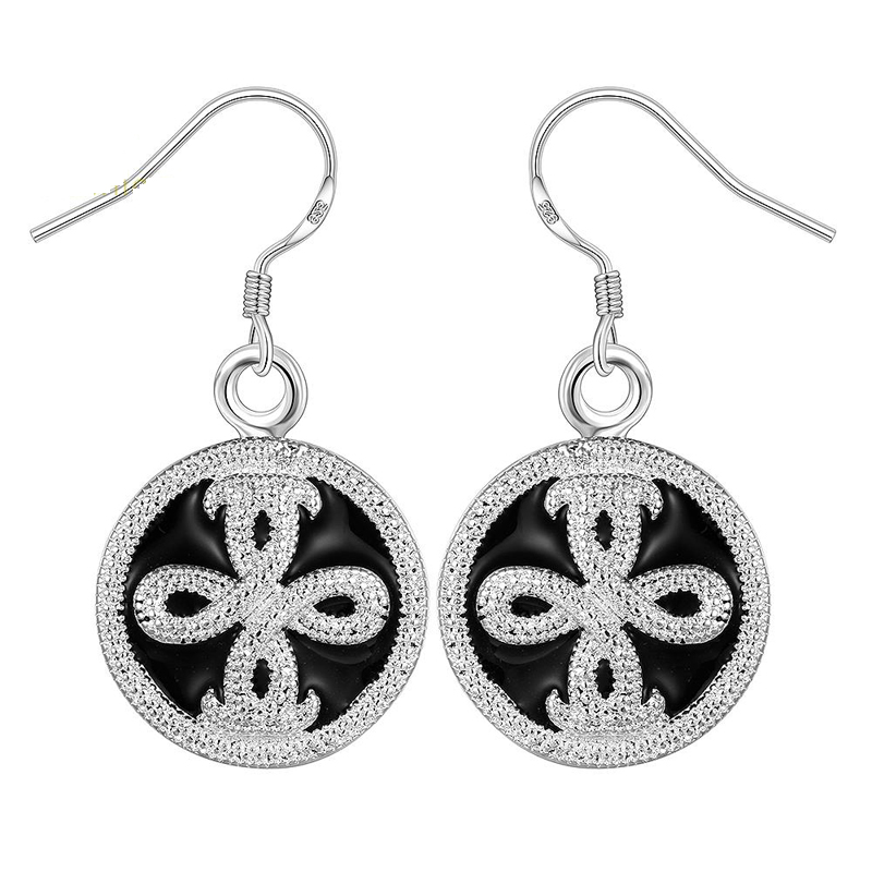 Silver Plated Round Crossed Dangle Earrings for Girls