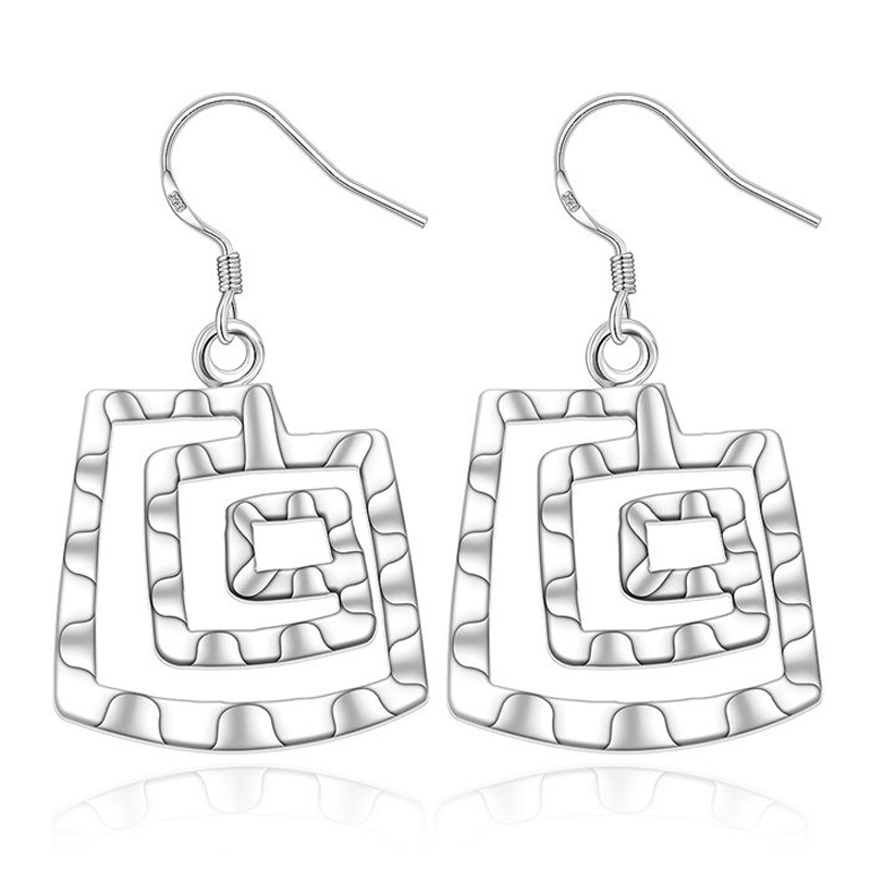 925-sterling-silver Fashion Jewelry Square Thread Girls Earrings