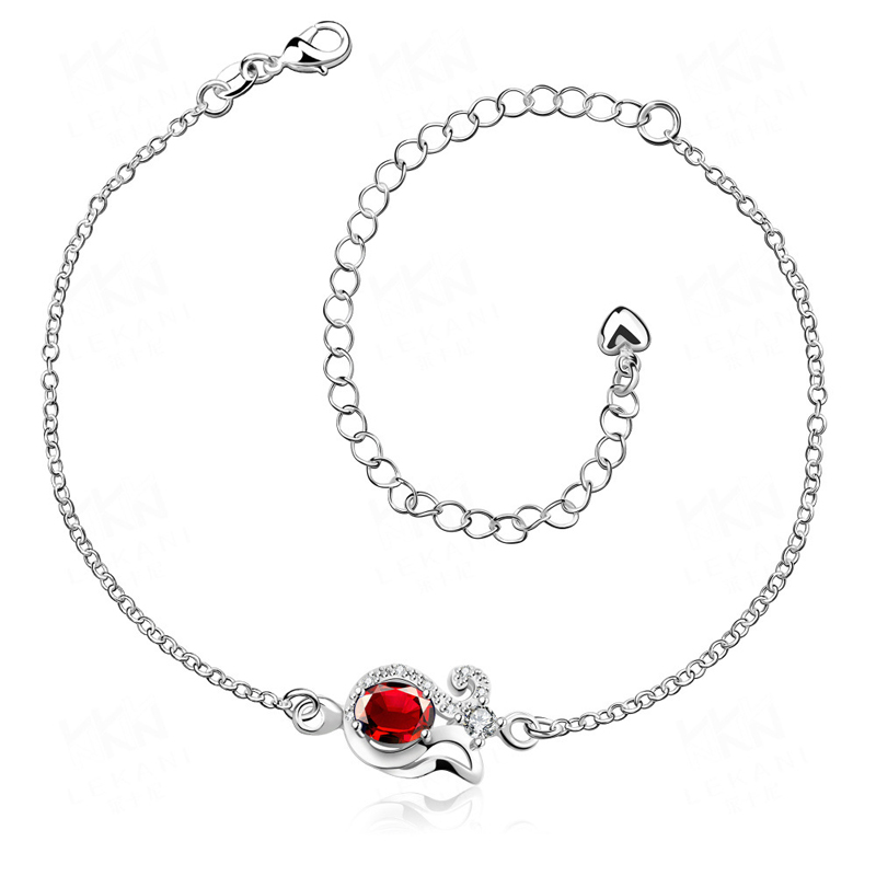 Silver Plated with Blue/Red Ziron Anklets for Girls