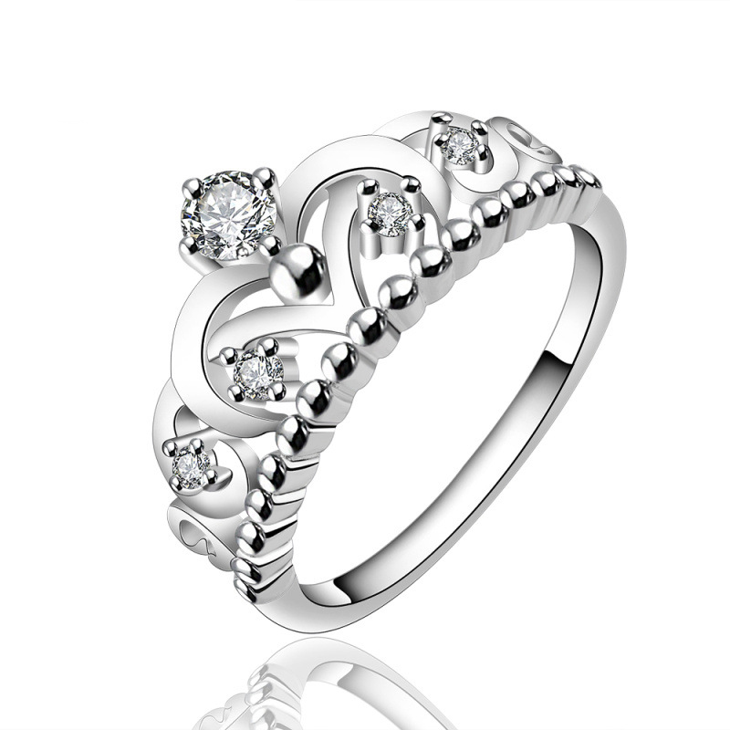 Crown Shape Simple Silver Plated & Zirconia Ring for Women