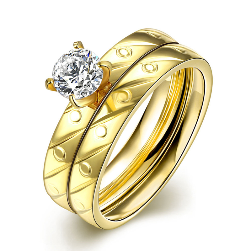 Gold Plated Double Layer Zircon Rings For Women
