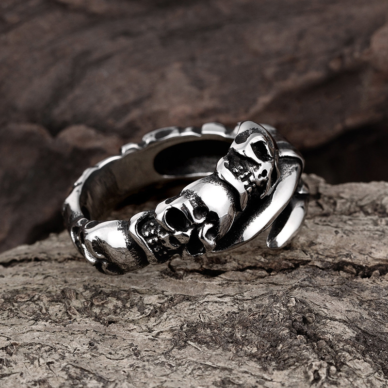 316L Stainless Steel Men\'s Skull Finger Claw Rings