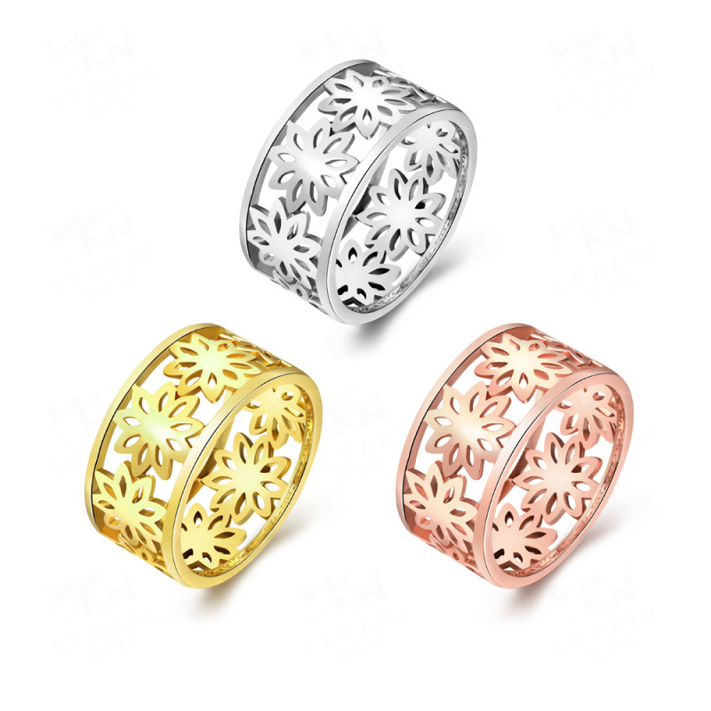 Top Quality Gold Plated Hollow Flowers Rings for Women