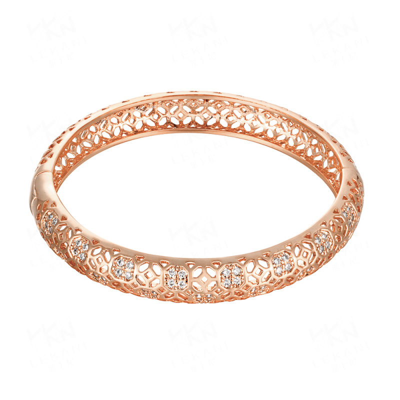 Simple Hollow Pattern Yellow/Rose Gold Plated Bracelets for Girls