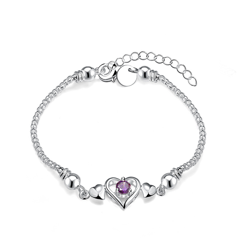 Silver Plated Charming Heart Zircon Bracelet for Girls