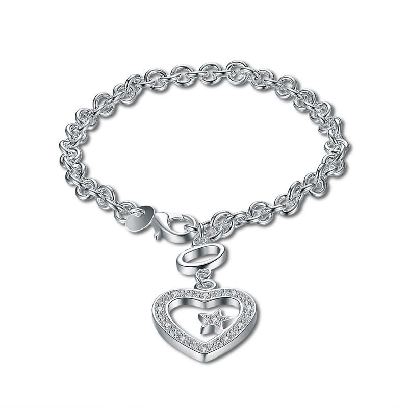 925 Sterling Silver Fashion Jewelry Heart Shape Girls Bracelet