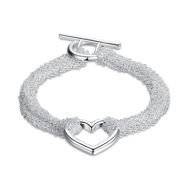 925 Silver Plated Web Heart Bracelet for Girls