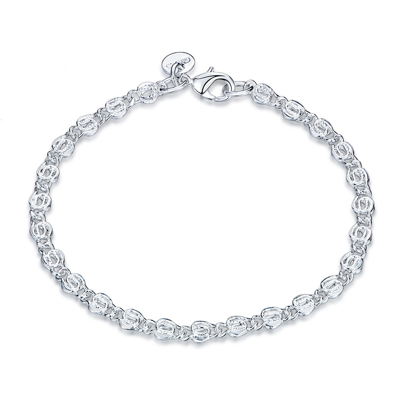 Fashion Female Silver Plated Lock Chain Bracelet