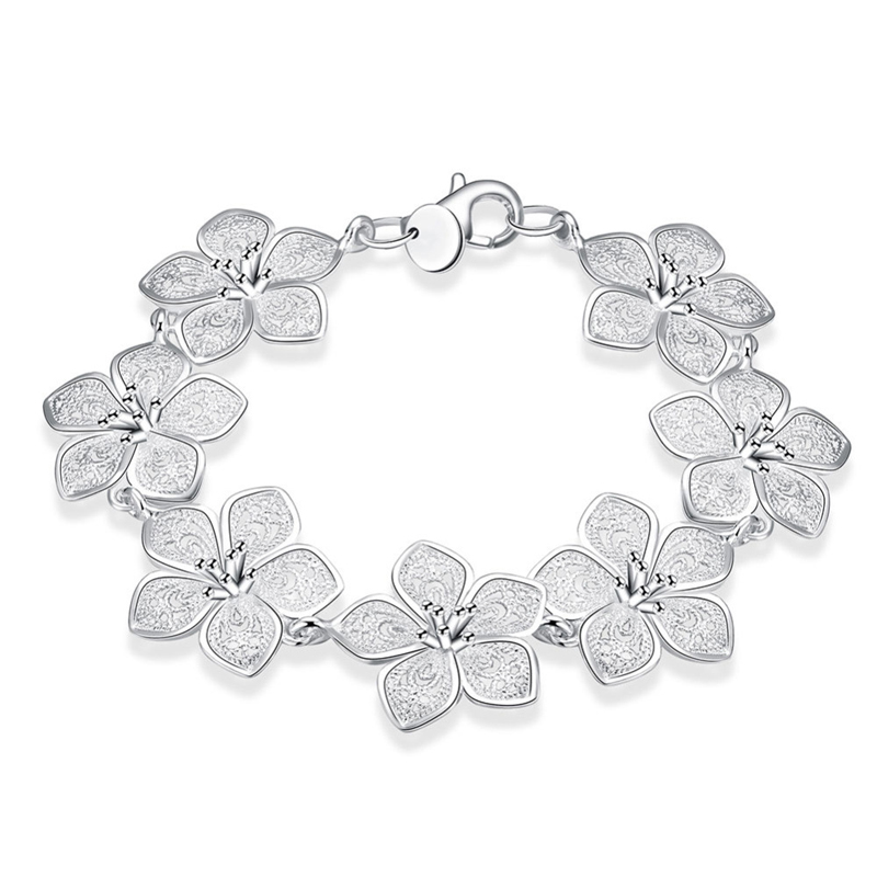 Pretty Flower Shape Silver Plated Bracelet for Girls