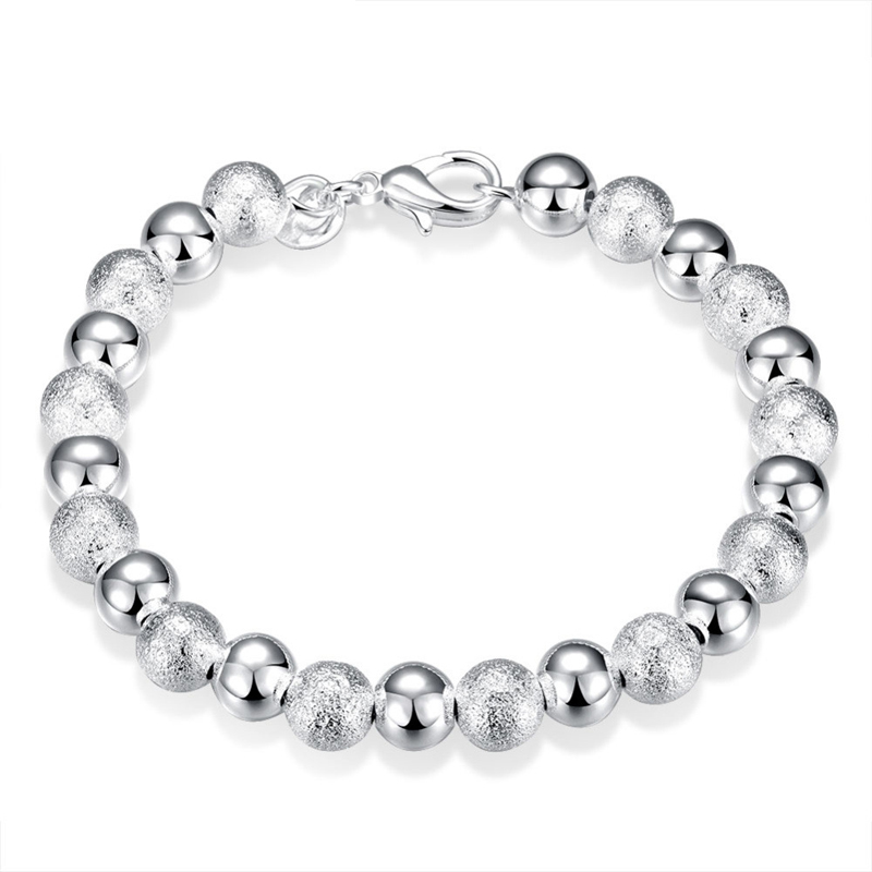 925 Silver Plated Fashion Jewelry 8mm Beads Girls Bracelet