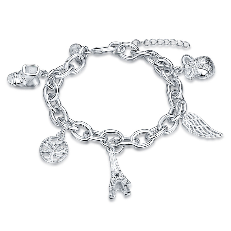 Silver Plated Eiffel Tower Tree Shoe Girls Charm Bracelets