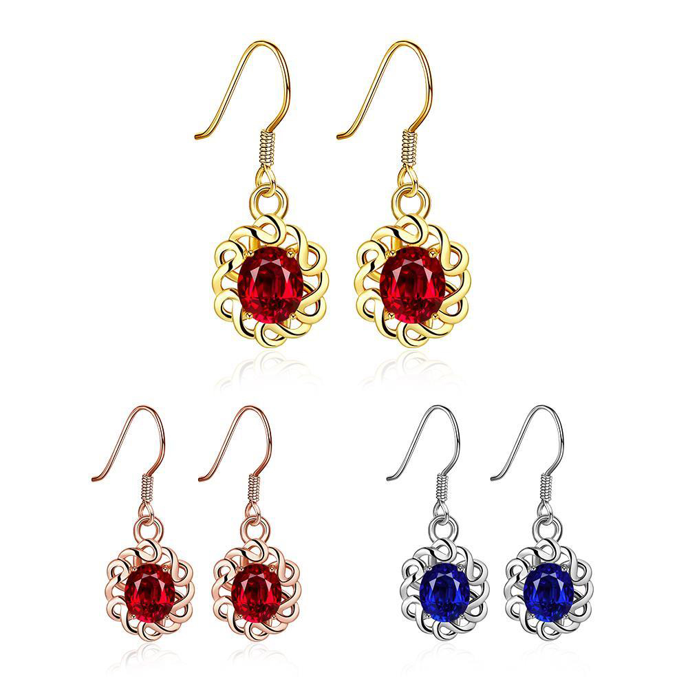 Gold Flower with Red/Blue Crystal Earring for Women