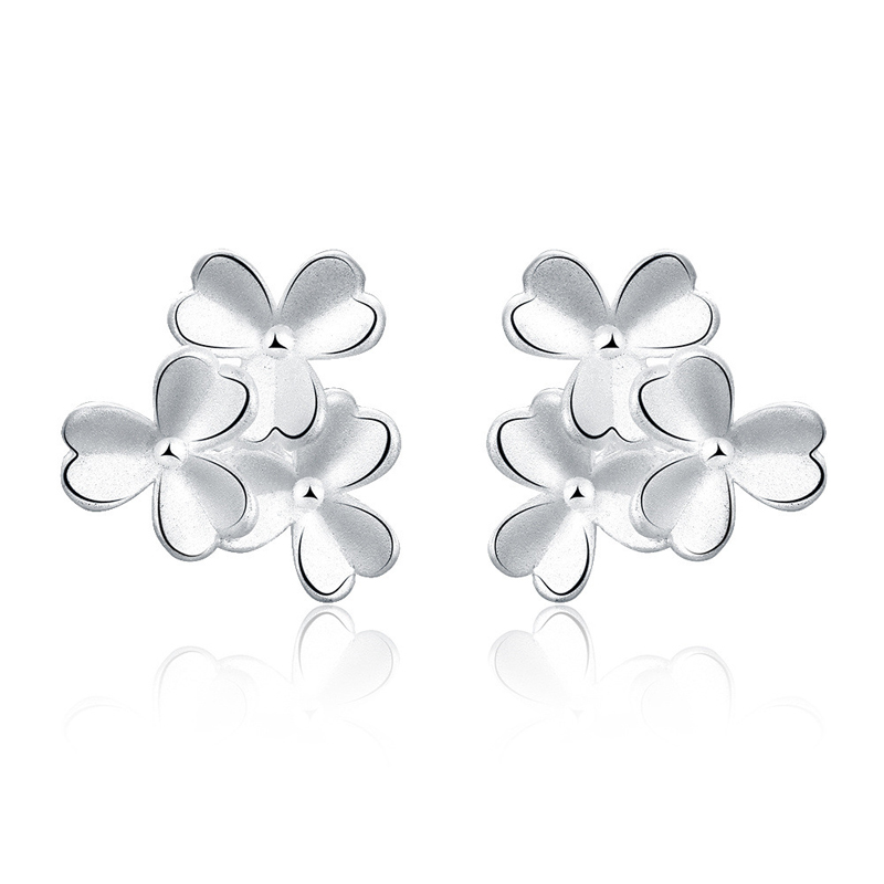 Fashion Silver Clover Shape Laminated Earrings for Girls