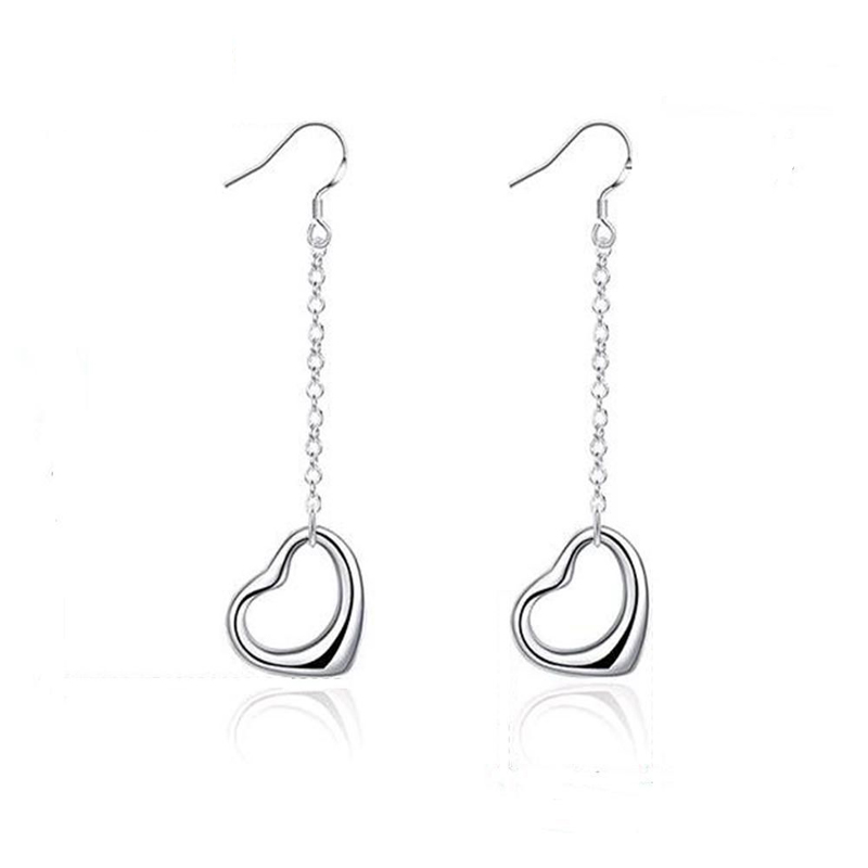 Silver Plated Fashion Jewelry Warm Heart Girls Earrings