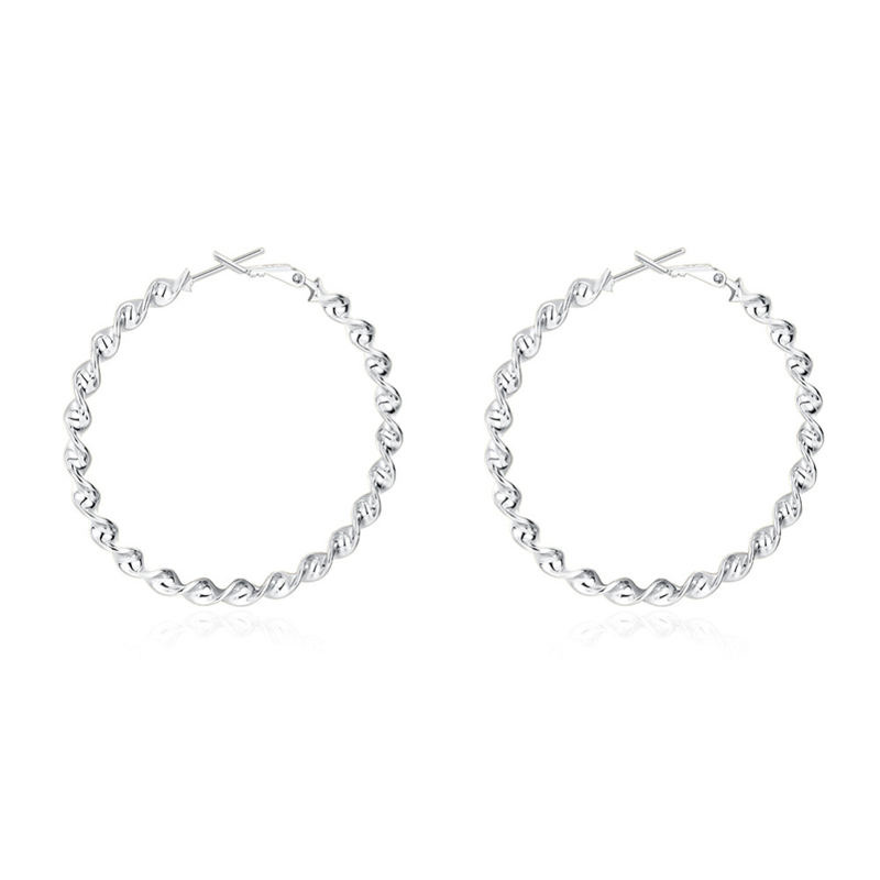 Romantic Silver Plated Round Hoop Girls Earrings