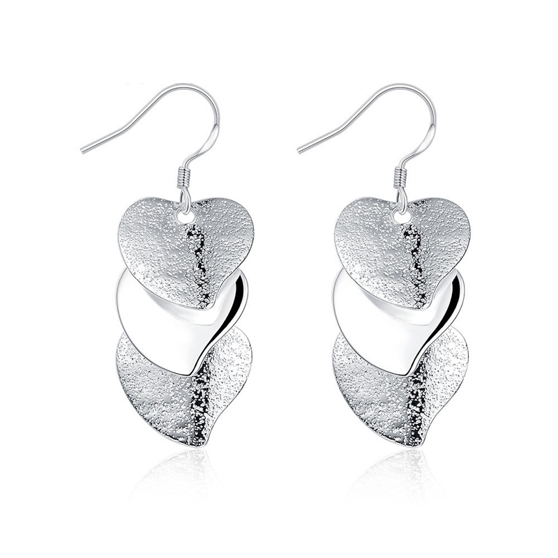 Silver Plated Fashion Jewelry Three Hearts Girls Earrings