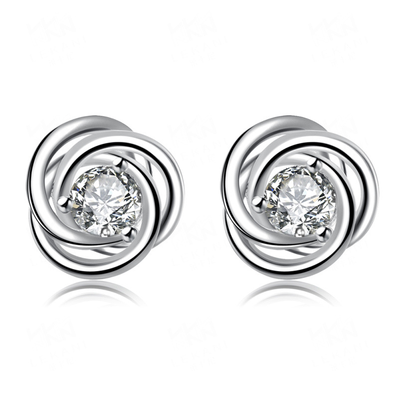 Romantic Flower Pattern Silver Plated Girls Earrings