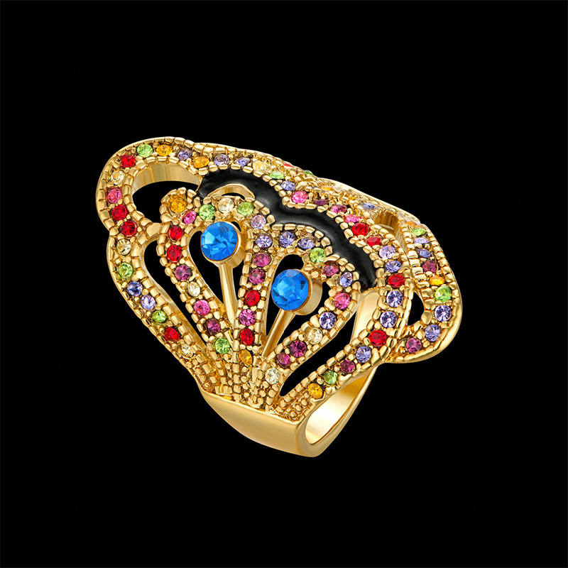 Colorful Crystal Geometric Gold Plated Ring for Women